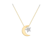9ct Yellow Gold Moon & Star Necklace