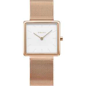 Obaku Kvadrat Rose Gold Watch