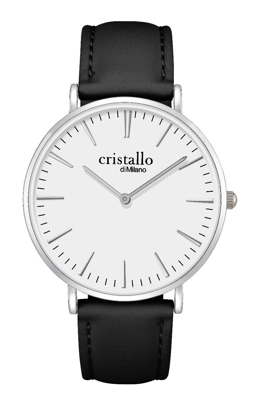 Cristallo di Milano Black Leather Watch (LARGE FACE)