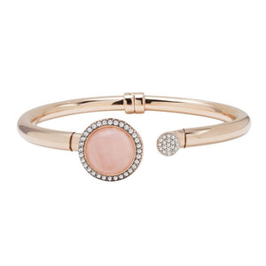 Bronzallure Open Bangle With Natural Rose Stone