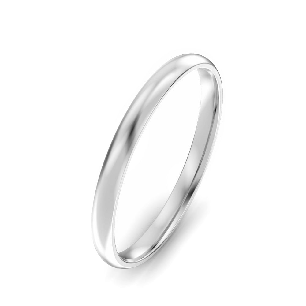 2mm Classic Court Light Weight Wedding Band - Platinum