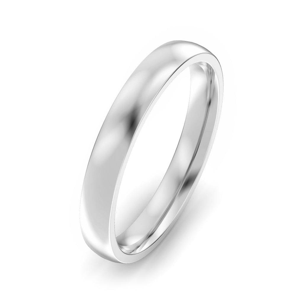 3mm Classic Court Light Weight Wedding Band - White Gold