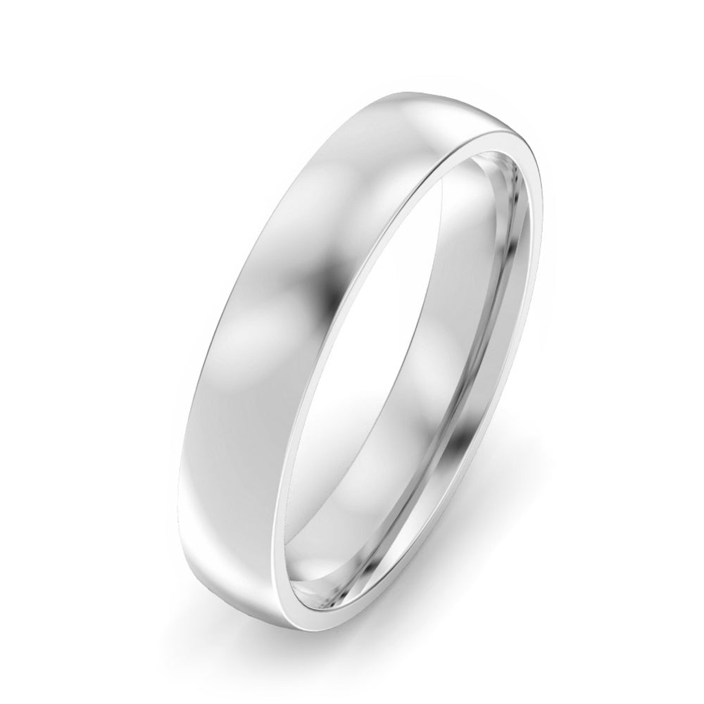 4mm Classic Court Light Weight Wedding Band - Platinum