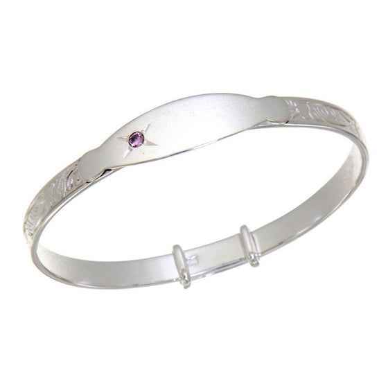 Sterling Silver Baby Bangle with Pink Stone