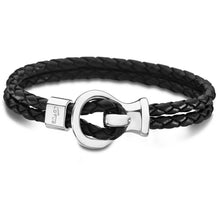 Lotus Men Stainless Steel & Black Leather Bracelet