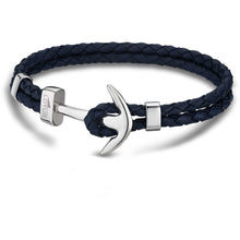 Lotus Men Stainless Steel & Navy Leather Bracelet