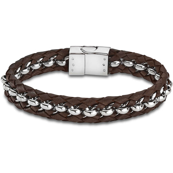Lotus Men Stainless Steel & Brown Leather Bracelet