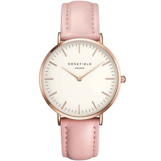"Rosefield ""The Bowery"" Rose Gold Pink Leather Watch With Large Face"