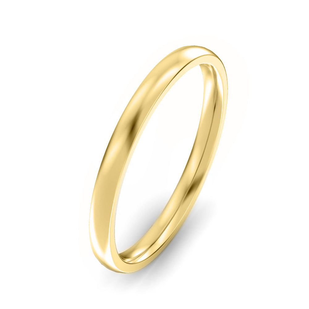 2mm Classic Court Light Weight Wedding Band - Yellow Gold