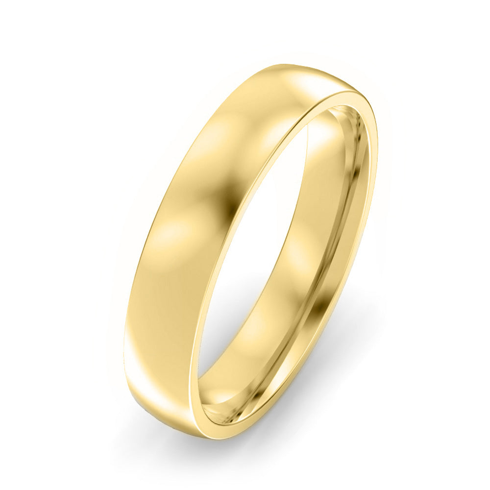 4mm Classic Court Light Weight Wedding Band - Yellow Gold