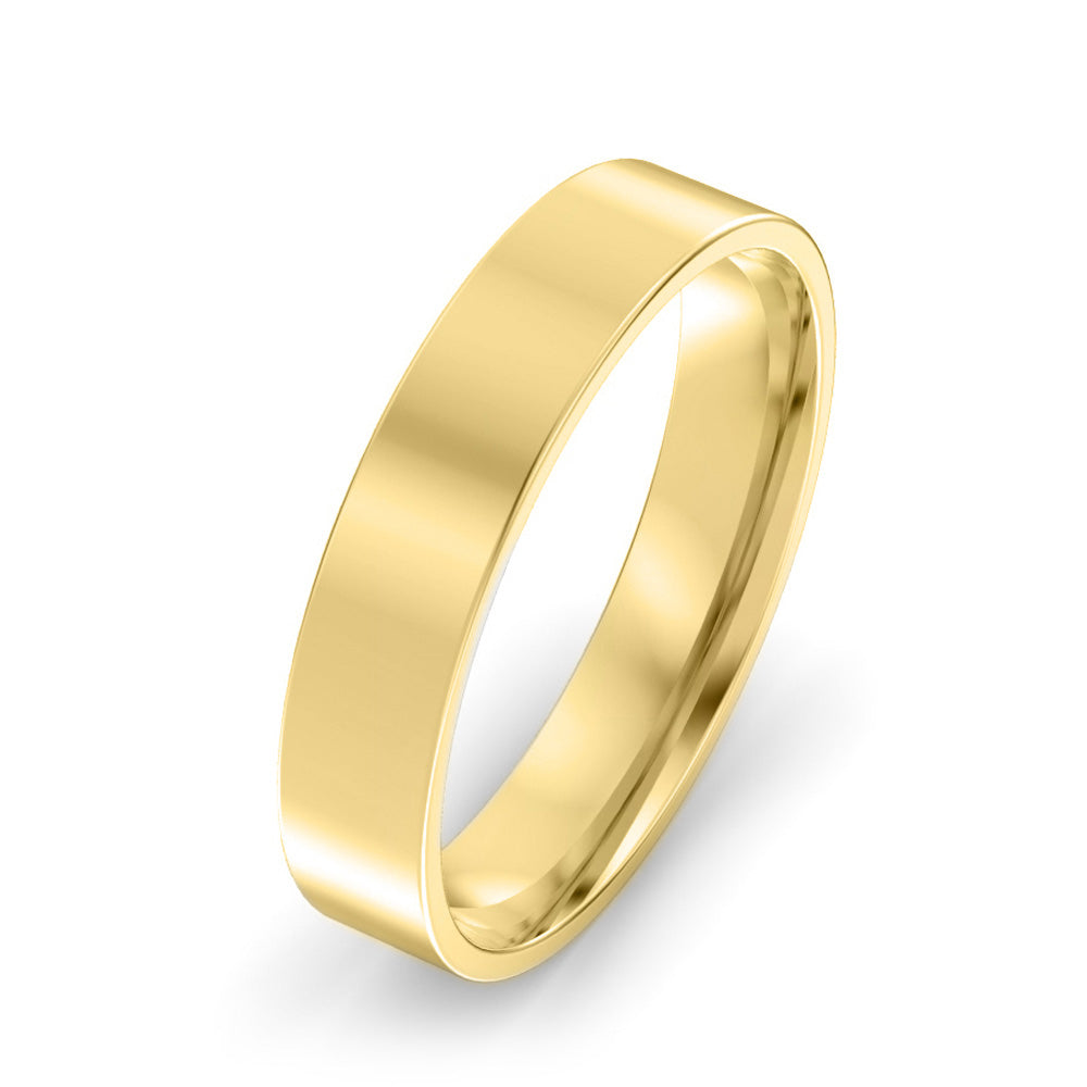 4mm Flat Court Light Weight Wedding Band - Yellow Gold