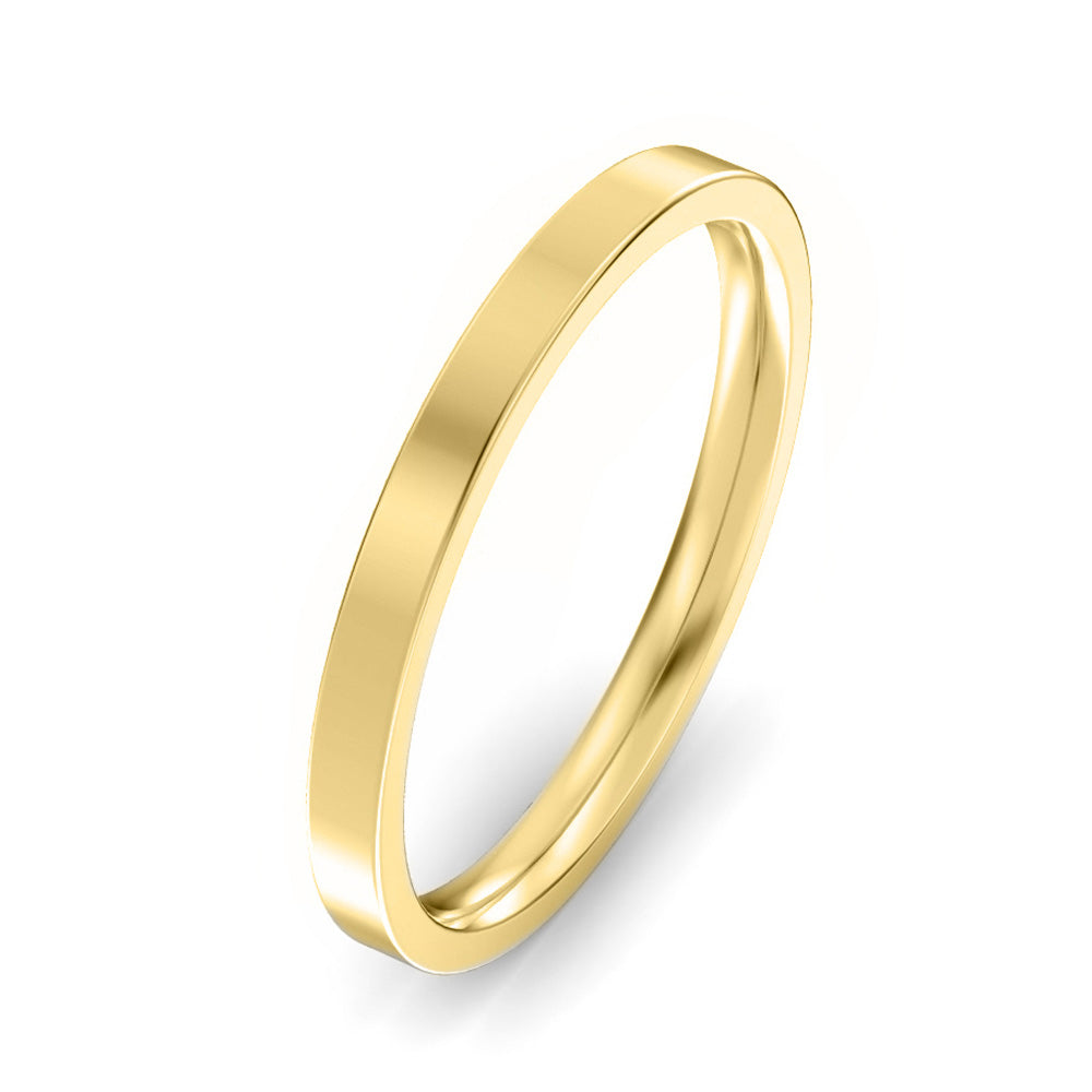 2mm Flat Court Light Weight Wedding Band - Yellow Gold