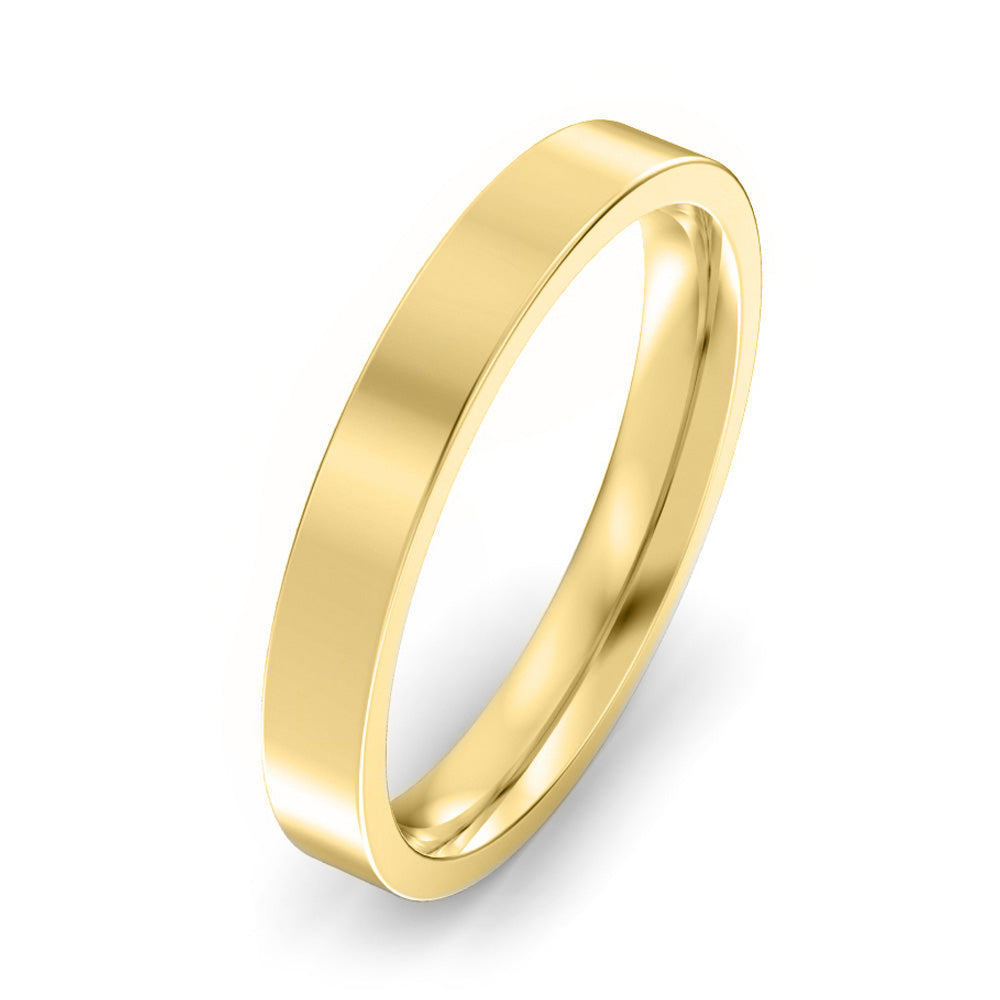 3mm Flat Court Light Weight Wedding Band - Yellow Gold