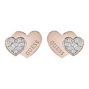 Guess You & Me Double Heart Rose Gold Earrings