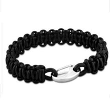 Lotus Men Stainless Steel & Black Chunky Leather Bracelet