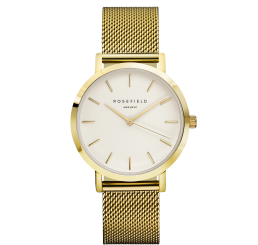 "Rosefield ""The Mercer"" Gold Mesh Large Face Watch"