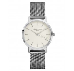 "Rosefield ""The Tribeca"" Silver Plated Stainless Steel Mesh Braclet With Small Silver Face"