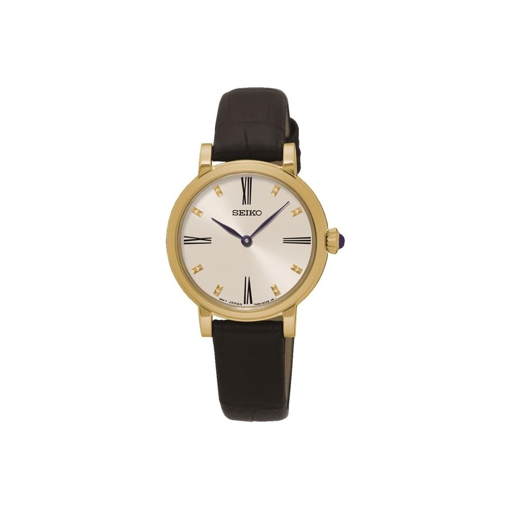 Seiko Ladies Black Leather Watch SFQ814P2