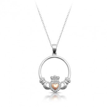 Silver Claddagh Pendant & Chain
