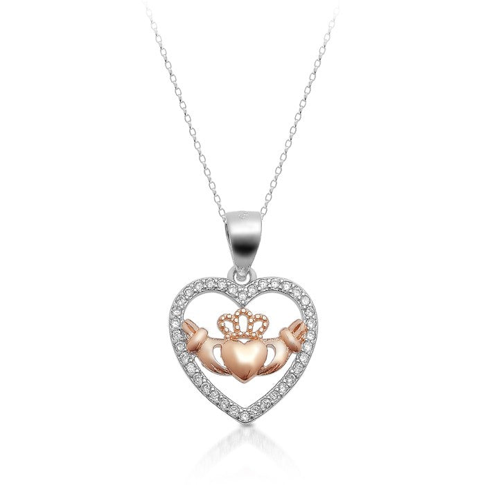 Sterling Silver Heart Shape Claddagh Necklace