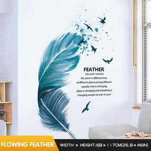 Creative Stickers Blue Feather Wall Sticker Bedroom Decor Sofa Backgro Stokpath