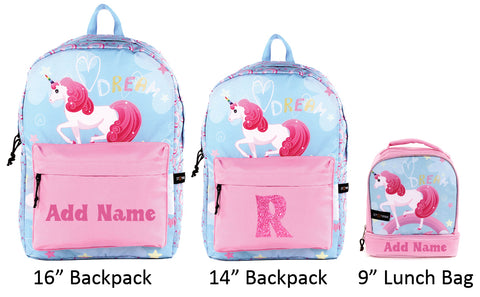 personalized school backpack and lunch bag