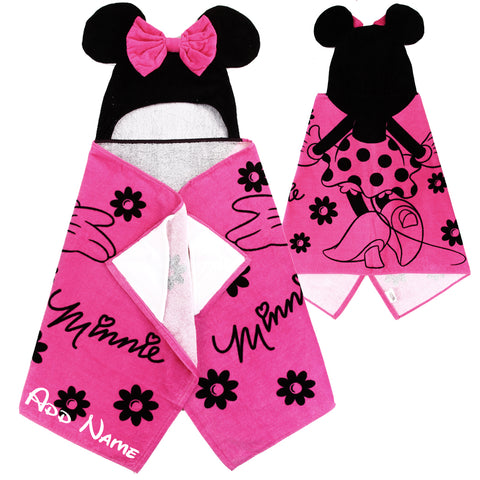 Personalized Disney Hooded Towel For Kids Featuring Minnie Mouse