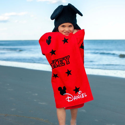 Personalized Disney Mickey Mouse Hooded Beach Towel