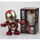 New Hot Avenger Steel Machine Man Dancing Robot Light Electric Music Toy Marvel Series Electric Iron Man Robot