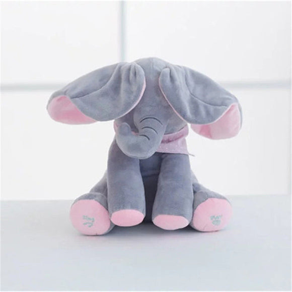 Children's Musical Flappy Ear Plush Elephant Interactive Sing And Play Hide Stuffed Animal Toy For Baby Girls Kids Birthday Gift