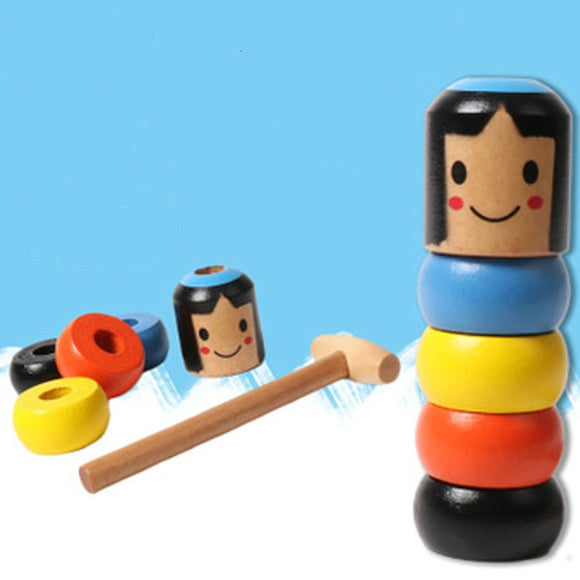 NEW Immovable Tumbler Magic Stubborn Wood Man Toy Funny Unbreakable Toy Magic Tricks Close-up Stage Magic Toys
