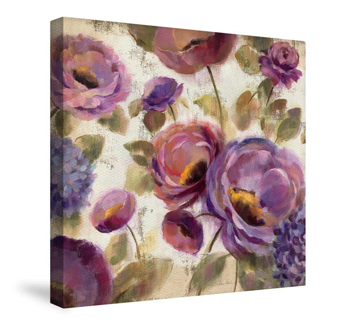 Blue And Purple Flower Song Canvas Wall Art