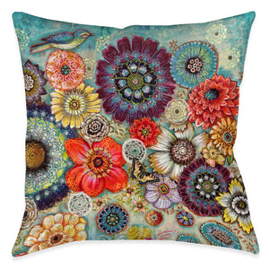 Blue Bird Boho Indoor Decorative Pillow