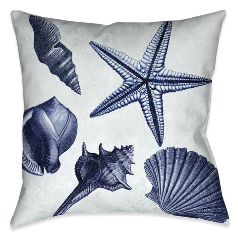 Blue Shell Toss Outdoor Decorative Pillow