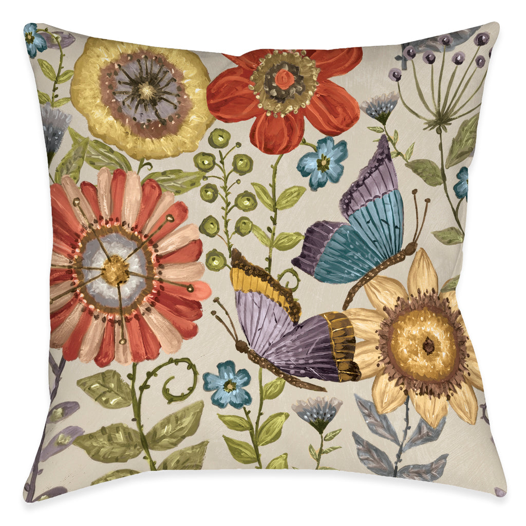 Boho Butterfly Garden Indoor Decorative Pillow