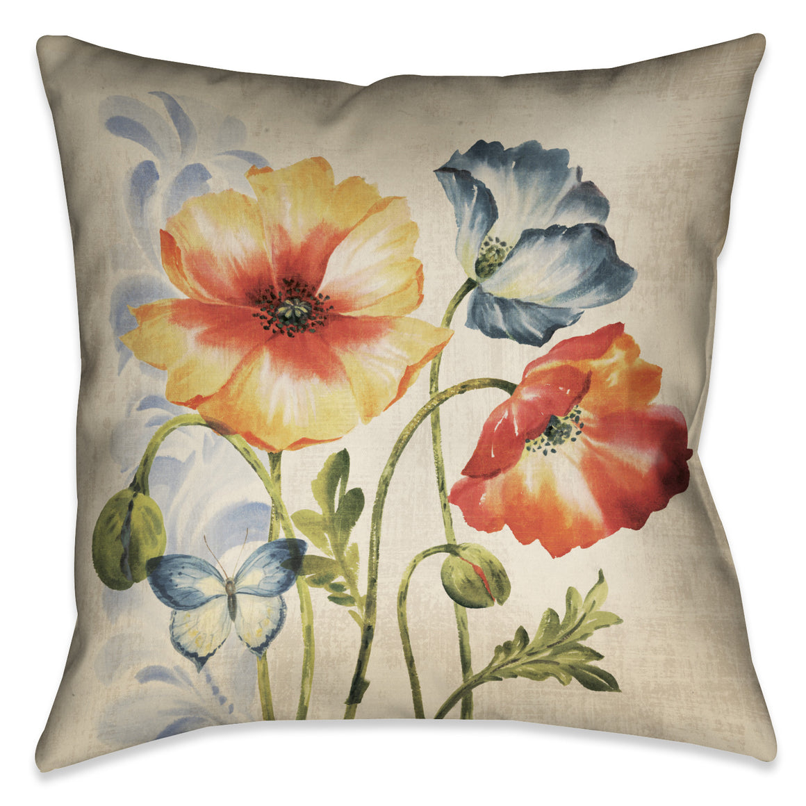 Multi Watercolor Poppies Indoor Decorative Pillow