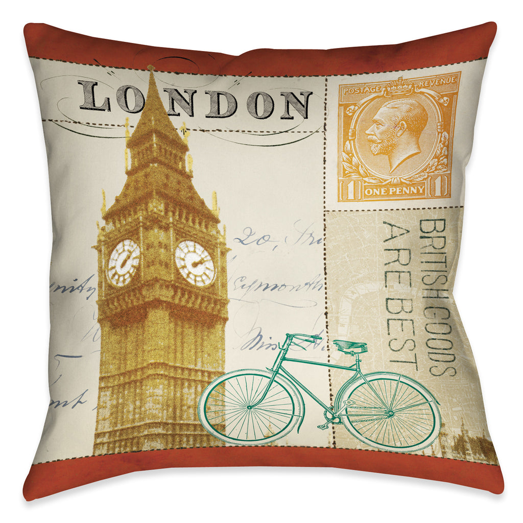 Postcard From London II Indoor Decorative Pillow