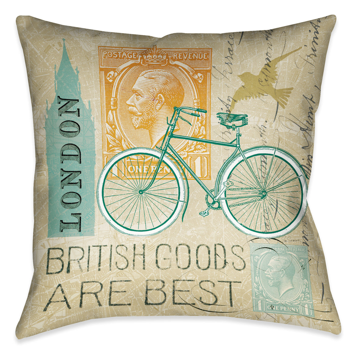 Postcard From London I Indoor Decorative Pillow