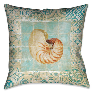 Shell Tiles III (Blue) Indoor Decorative Pillow