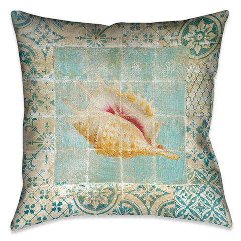 Shell Tiles II (Blue) Indoor Decorative Pillow