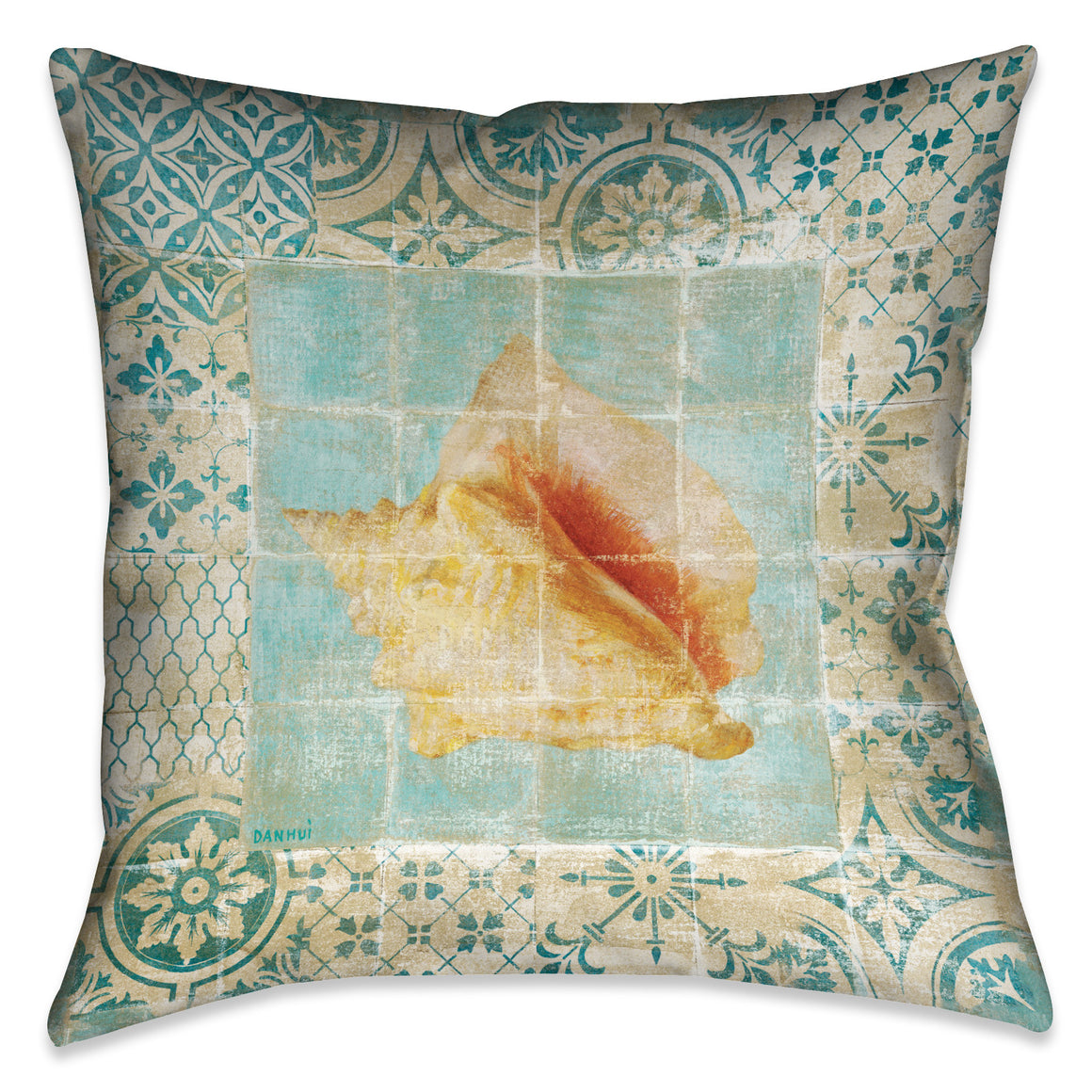 Shell Tiles IV (Blue) Indoor Decorative Pillow