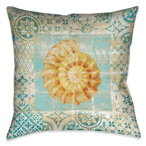 Shell Tiles I (Blue) Indoor Decorative Pillow
