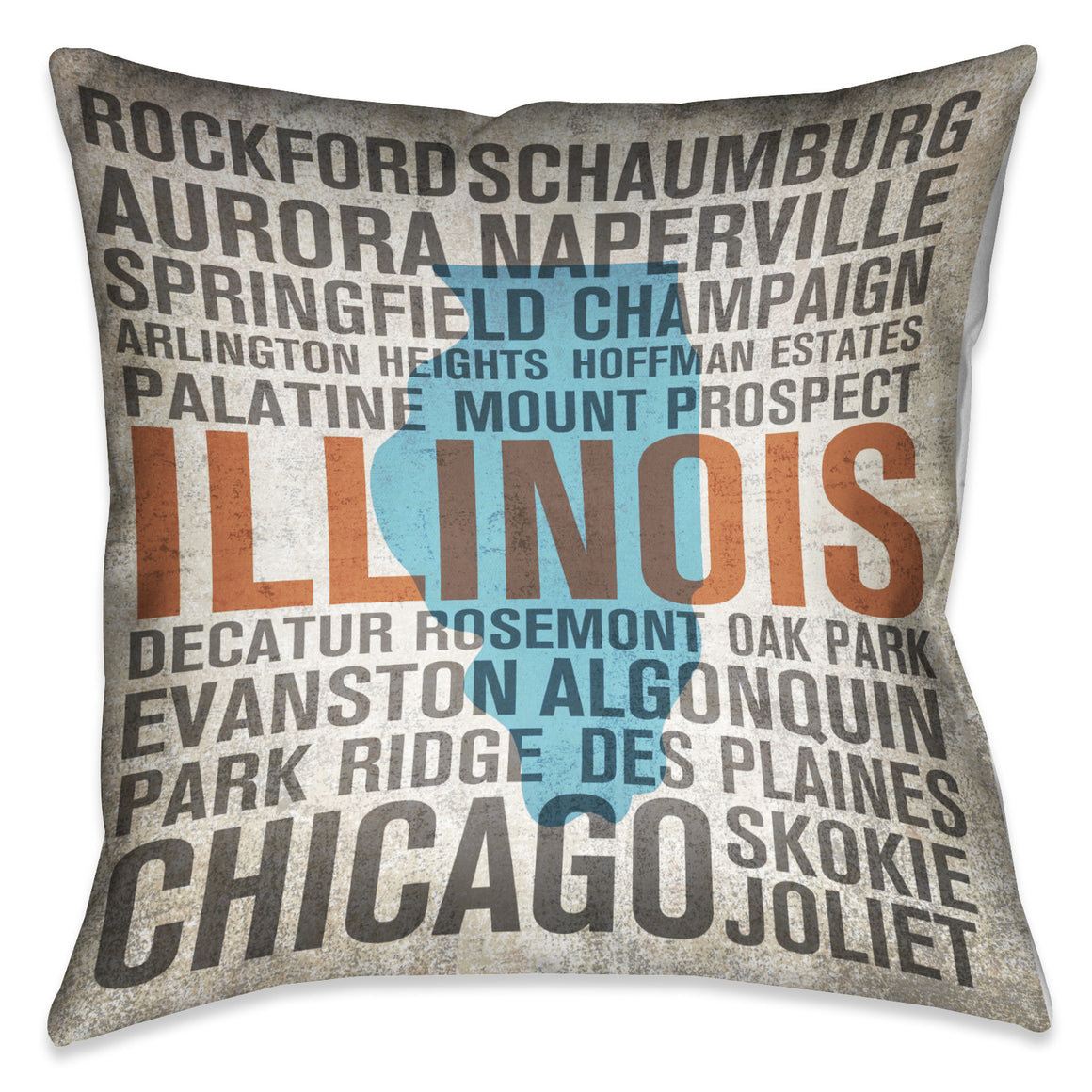 States - Illinois Indoor Decorative Pillow