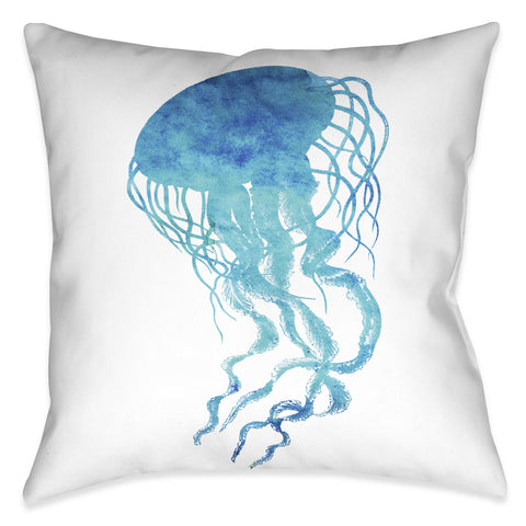 Watercolor Jellyfish Outdoor Decorative Pillow