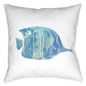 Watercolor Fish I Outdoor Decorative Pillow
