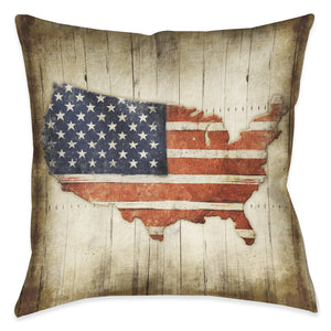 Wooden Flag Outdoor Decorative Pillow