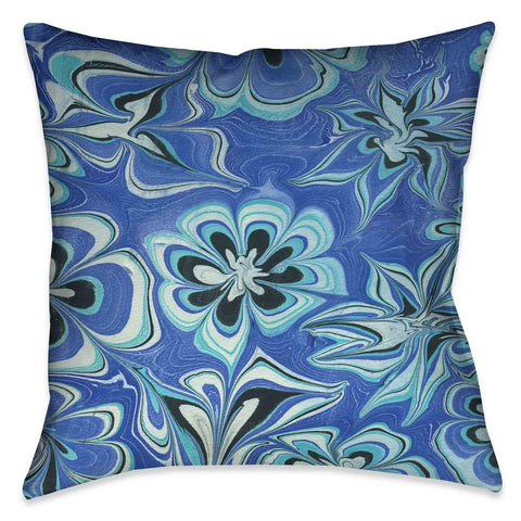 Blue Flower Marble Decorative Pillow