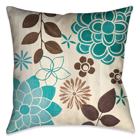 Abstract Garden Blue II Indoor Decorative Pillow
