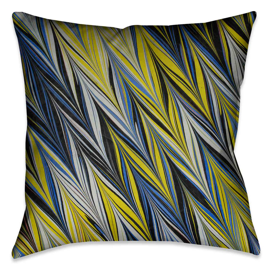 Blue Yellow ZigZag Marble Outdoor Decorative Pillow