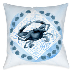 "The ""Moroccan Marina Outdoor Decorative Pillow"" features a  indigo, blue tonal mixed print combining beautiful Moroccan inspired mosaics with interlacing coastal scenic motifs. The ""Moroccan Marina Crab"" indoor pillow features a indigo, blue tonal mixed print combining beautiful Moroccan inspired mosaics with a coastal crab motif."